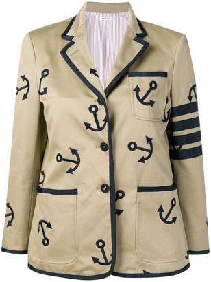 36be3947906 Thom Browne 4-Bar Anchor Embroidery Sack Jacket