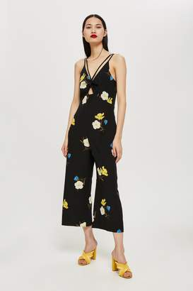 ca1659352cd Topshop Womens Tall Yellow Floral Jumpsuit - Black