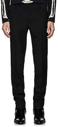 Saint Laurent Men's Wool Twill Flat-Front Trousers
