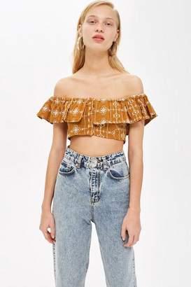 Topshop Crinkle Embroidered Bardot Top