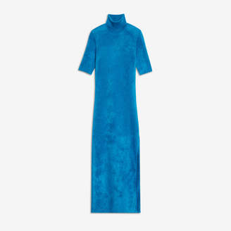 Balenciaga Fitted Dress in turquoise velvet knit