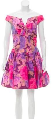 Jenny Packham Printed Off-The-Shoulder Cocktail Dress pink Printed Off-The-Shoulder Cocktail Dress
