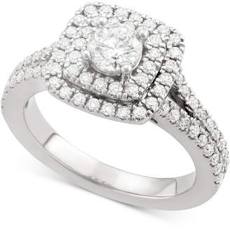 Marchesa Certified Diamond Square Halo Engagement Ring (1-1/4 ct. t.w.) in 18k White Yellow or Rose Gold, Created for Macy's