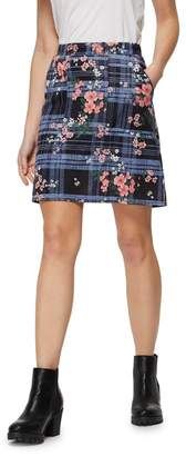 Red Herring Blue Checked Floral Print Skirt