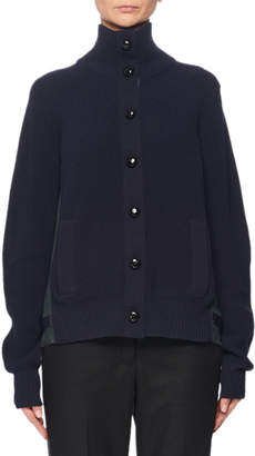Sacai Turtleneck Button-Front Pleated-Back Wool Cardigan