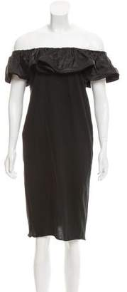 Lanvin Ruffle-Accented Off-the-Shoulder Dress