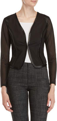 Patrizia Luca Mesh Faux Leather Trim Jacket