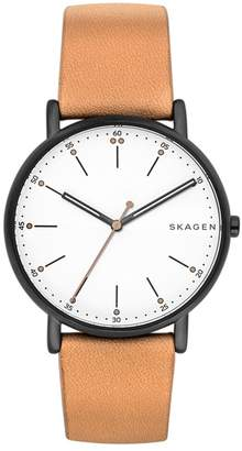 Skagen Round Leather Strap Watch, 40mm