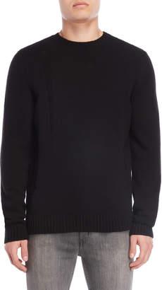 Bolongaro Trevor Black Distressed Wool Sweater