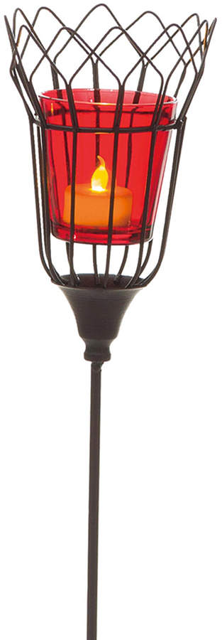 Red Glass Candle Holder Garden Stake