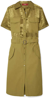 Mila Louise Sies Marjan Belted Washed Satin-paneled Cotton-poplin Dress - Army green