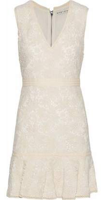 Alice + Olivia Onella Fluted Cotton Guipure Lace Mini Dress