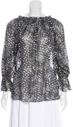 Michael Kors Silk-Blend Long Sleeve Blouse