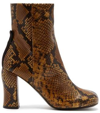 Joseph Groucho Python Effect Leather Ankle Boots - Womens - Brown Multi