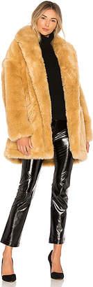 Halston Double Breast Faux Fur Coat