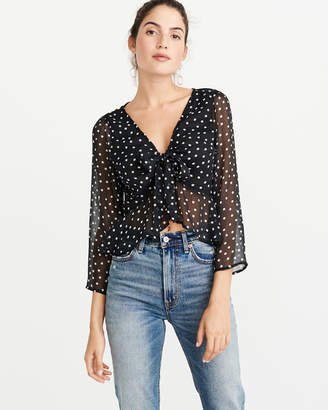 Abercrombie & Fitch Tie-Front Chiffon Blouse