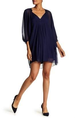 Diane von Furstenberg Fleurette 3/4 Sleeve Front Smocked Dress