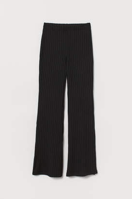 H&M Flared Jersey Pants - Black
