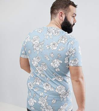 Noose & Monkey PLUS Longline Muscle Floral Print T-Shirt