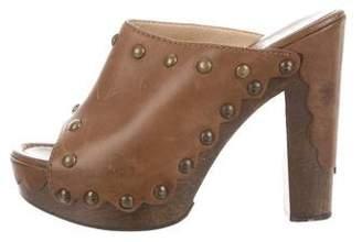 Stuart Weitzman Leather Platform Clogs