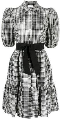 P.A.R.O.S.H. Checked Puff Sleeve Dress