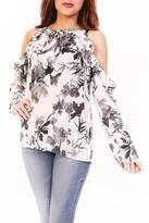 Entro Black & White Floral Top