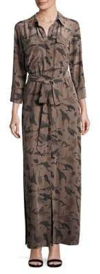 L'Agence Camo Silk Shirtdress