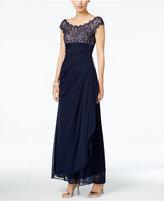 Xscape Evenings Petite Lace Illusion Faux-Wrap Gown