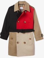 Burberry Colour Blocked Twill Trench Coat
