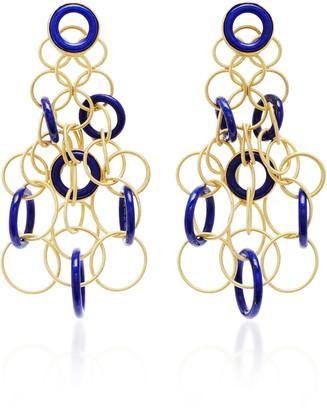 Buccellati Hawaii 18K Gold And Lapis Earrings