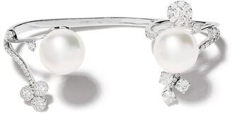 Yoko London 18kt white gold Novus South Sea pearl and diamond three finger ring