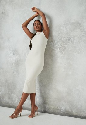 Missguided Cream Rib Wide Neck Midi Dress