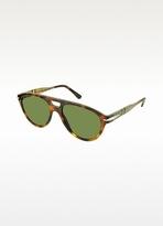Lamborghini Tonino TL 516-02 Havana Acetate and Wood Aviator Sunglasses