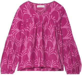 Apiece Apart Printed Cotton And Silk-blend Blouse