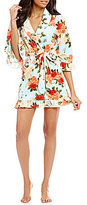 Betsey Johnson Floral Ruffled Vintage Terry Wrap Robe