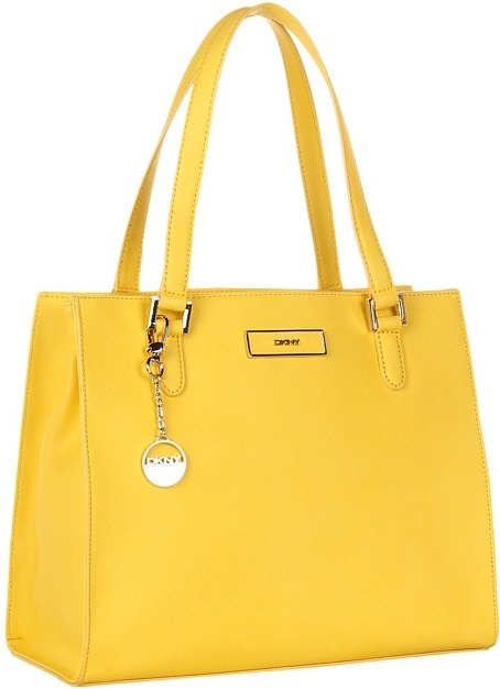 DKNY Saffiano Leather Work Shopper (Yellow) - Bags and Luggage