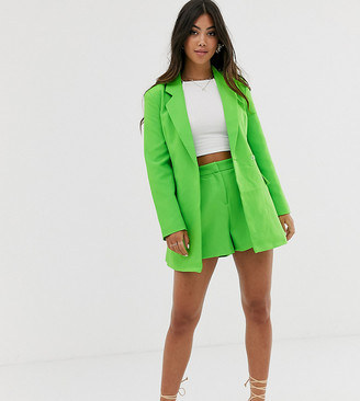 Asos DESIGN petite suit shorts in pop green