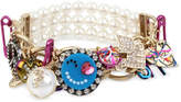 Betsey Johnson Multi-Tone Multicolor Crystal & Imitation Pearl Large Charm Stretch Bracelet