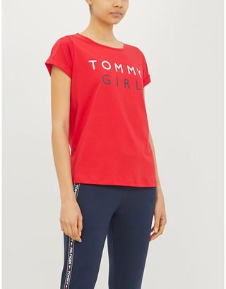 Tommy Hilfiger Logo-print cotton-jersey pyjama top