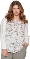 M&Co Plus floral body long sleeve top