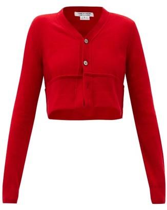 Comme des Garçons Comme des Garçons Cropped Turn-up Hem Wool Cardigan - Red