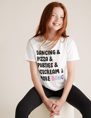 Marks and Spencer Cotton Slogan T-Shirt (6-16 Yrs)