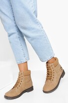 Thumbnail for your product : boohoo Fur Cuff Detail Lace Up Hiker Boots