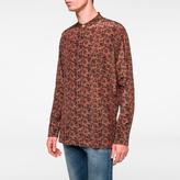 Paul Smith Men's Brown 'Logan Floral' Cupro-Cotton Band-Collar Shirt