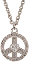 Judith Ripka Sterling Silver Peace Sign Heart Charm Necklace
