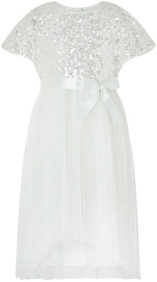 Monsoon Truth Cape Sleeve Sequin Dress Ivory