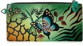 Anuschka Anna By Handpainted Leather Organizer Wallet, Animal Butterfly Green Credit Card Holder