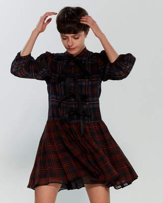 Philosophy di Lorenzo Serafini Plaid Bow Drop Waist Mini Dress