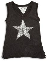 T2 Love Girl's Distressed Silver Star Foil Muscle Tee