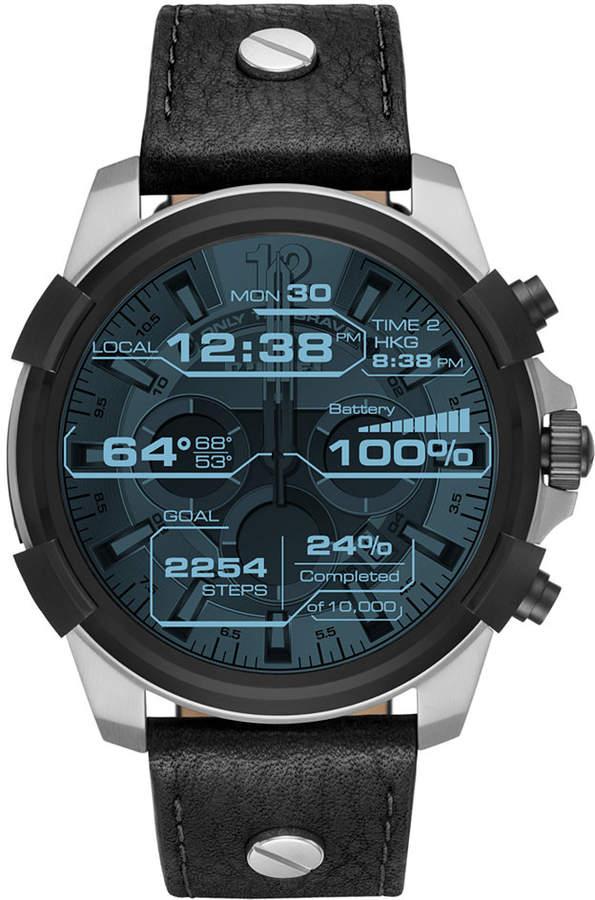 Diesel On Men's Full Guard Black Leather Strap Smart Watch 48mm